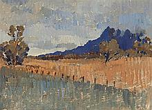 Horace Trenerry 1899 - 1958, NORTHERN LANDSCAPE (FLINDERS RANGES LANDSCAPE WITH RAIN APPROACHING), c1930 oil on canvas-board