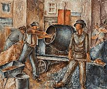 Russell Drysdale 1912 - 1981, MEN MIXING CONCRETE, 1937 oil on composition board