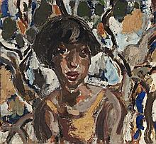 Ian Fairweather 1891 - 1974, PORTRAIT, 1939 oil and gouache on cardboard on plywood