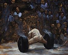LOUISE HEARMAN, born 1963, SUMO WRESTLER, 1991, oil on composition board