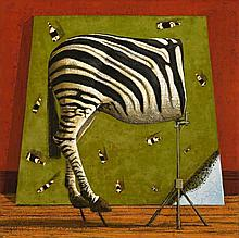 JOHN KELLY, born 1965, AERIAL VIEW AND HALF A ZEBRA, 1998, oil on canvas
