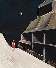 CHARLES BLACKMAN, born 1928, GIRL IN A LANE, 1952, oil on pulpboard