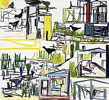 KEN WHISSON, born 1927, FARMHOUSES, 1986, oil on canvas