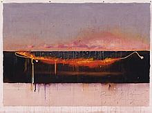TIM STORRIER, born 1949, POINT TO POINT, 1985, synthetic polymer paint, pencil and rope on paper