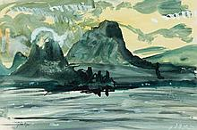 JOHN PIPER, (1903 - 1992, British), FROM TALLOIS I LAKE OF ANNECY, 1971, gouache on paper