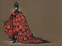 LOUDON SAINTHILL, (1918 – 1969), COSTUME DESIGN FOR KING ARTHUR, CANTERBURY TALES, 1968, gouache, pencil and ink on paper