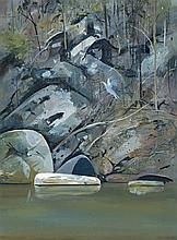 ARTHUR BOYD, (1920 – 1999), UPTURNED BOAT ON BUDGONG CREEK, c1982, oil on composition board