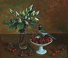 MARGARET OLLEY, (1923 – 2011), BOWL OF RED CHERRIES, oil on composition board