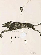JOHN OLSEN, born 1928, DOG AND HONEYEATER, 1979, watercolour and gouache on paper