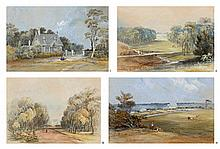 CONRAD MARTENS, (1801 - 1878), THE LODGE, A. JEFFRIES [SIC] ESQ. CANTERBURY HOUSE; CANTERBURY HOUSE: THE DRIVE; CANTERBURY HOUSE, THE SEAT OF MR ARTHUR JEFFRIES [SIC]: GARDEN VISTA; ST PAUL'S CANTERBURY, c1860, c1860, c1860, c1860, watercolour and