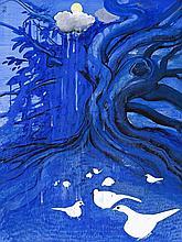 BRETT WHITELEY,  1939 – 1992, SUNSHOWER, 1983, gouache and collage on card - housed in the artist's original acrylic frame