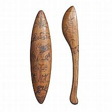 ARTIST UNKNOWN, , A SHIELD AND CLUB, SOUTH AUSTRALIA, 1930s, carved hardwood decorated with fauna designs