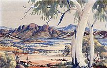 ALBERT NAMATJIRA, 1902 – 1959, THE MACDONNELL RANGES ON SOUTH SIDE, c.1959, watercolour on paper
