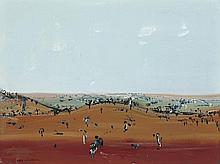 FRED WILLIAMS, 1927 – 1982, LANDSCAPE, ROLLINGS HILLS, c.1971-73, gouache on paper
