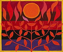 JOHN COBURN, 1925 – 2006, TREE OF LIFE (MAQUETTE FOR TAPESTRY), 1967, oil on canvas