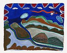 GINGER RILEY MUNDUWALAWALA, c.1936 – 2002, LIMMEN BIGHT COUNTRY, 1991, synthetic polymer paint on canvas