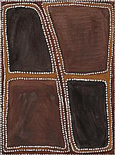 ROVER THOMAS (JOOLAMA), c.1926 – 1998, CROSSROADS, 1990, natural earth pigments on linen