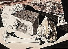JOHN D. MOORE, 1888 – 1958, SURREALIST LANDSCAPE WITH STONES AND BONE, 1944, watercolour and ink on paper