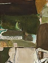 BRETT WHITELEY,  1939 – 1992, GREEN LANDSCAPE, 1962, mixed media with collage on paper