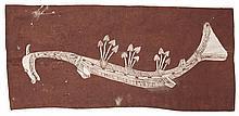 LOFTY BARDAYAL NADJAMERREK, (1926 - 2009), NGALYOD II, 2005, natural earth pigments on eucalyptus bark