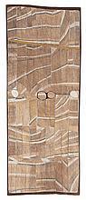 JOHN MAWURNDJUL, born 1952, MARDAYIN DESIGN AT KAKODBEBULDI, 2002, natural earth pigments on eucalyptus bark