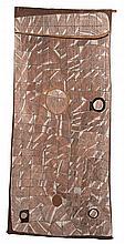 JOHN MAWURNDJUL, born 1952, MARDAYIN DESIGN AT KAKODBEBULDI, 1998, natural earth pigments on eucalyptus bark