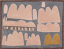 QUEENIE McKENZIE NAKARRA, (c1925 - 1998), MOOLAGAR, 1996, natural earth pigments with synthetic binder on canvas