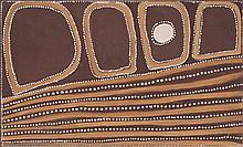 ROVER THOMAS (JOOLAMA), (c1926 - 1998), BARRAMUNDI DREAMING, 1992, natural earth pigments with bush gum on canvas