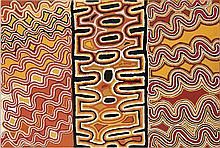 FRED TJAKAMARRA, SAM TJAMPITJIN, and TJUMPO TJAPANANGKA, (c1926 - 2006), (c1930 - 2007), and (c1930 - 2007), MEN'S PAINTING, 1996, synthetic polymer paint on linen