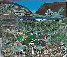 GERTIE HUDDLESTONE, ANGELINA GEORGE, and DINAH GARADJI, born c1935, born 1937, and born 1921, MISSION GORGE, 1996, synthetic polymer paint on canvas
