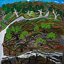 ANGELINA GEORGE, born 1937, BLACK ROCK LANDSCAPE, 1998, synthetic polymer paint on canvas