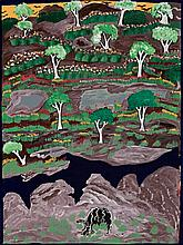 ANGELINA GEORGE, born 1937, LANDSCAPE AND CAVE, 1996, synthetic polymer paint on canvas