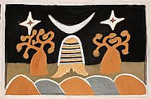 HECTOR CHUNDALOO JANDANY, (c1925 - 2006), JOMALLAWARY (TWO BOTTLE TREES), 1996, natural earth pigments on canvas
