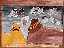 HECTOR CHUNDALOO JANDANY, (c1925 - 2006), NGARRGOOROON, 2004, natural earth pigments on canvas