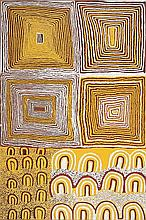 FRED TJAKAMARRA, SAM TJAMPITJIN, and TJUMPO TJAPANANGKA, (c1926 - 2006), (c1930 - 2007), and (c1930 - 2007), MEN'S LAW PAINTING, THE GREAT SANDY DESERT, WA, 1997, synthetic polymer paint on linen