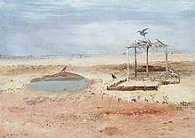 ARTHUR BOYD, (1920 - 1999), WIMMERA LANDSCAPE WITH WATERHOLE, BIRDS AND SHELTER, c.1950, oil and tempera on composition board