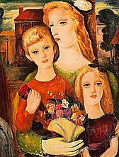 CONSTANCE STOKES, (1906 - 1991), WOMAN AND HER CHILDREN ON - TRAM, c.1946, oil on canvas
