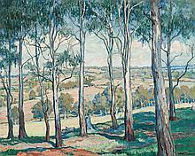 HILDA RIX NICHOLAS, (1884 - 1961), THROUGH THE GUM TREES, TOONGABBIE, c.1920, oil on canvas