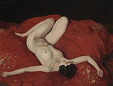 HERBERT JAMES GUNN, (1893 - 1964, British), RECLINING NUDE, oil on canvas on board