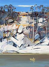 ARTHUR BOYD, (1920 - 1999), SHOALHAVEN; HILLSIDE WITH ROCKS AND MAN IN BOAT, oil on composition board