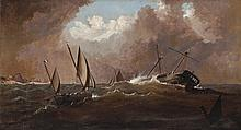 HAUGHTON FORREST, (1826 - 1925), PILOT BOAT TO THE RESCUE, oil on canvas