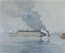 HOWARD ASHTON, (1877 - 1964), THE GREY GHOST (RMS QUEEN MARY), SYDNEY HARBOUR, c.1940 - 43, oil on plywood