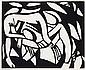 Henri Gaudier-Brzeska 1891 - 1915,  French PRINTED BY HORACE BRODZKY 1885 - 1969 WRESTLERS, c1914 linocut