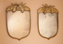 A Pair of Acorn-shaped Carved Wood and Gilt Mirrors