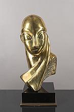 tete en bronze à patine jaune, fonte posthume d'après Constantin BRANCUSI (1876-1957),