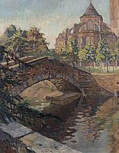 huile sur toile par Roger Paul Froidevaux (1918-1998)  'Vue de l'arrière de Notre-Dame'  sbg et daté 1936