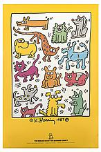 affiche en couleurs de Keith Haring (1958-1990, USA), The humane society of broward county, 1987, Imp. Haff-Daugherty-Graphics.