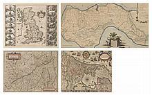 lot de 4 cartes anciennes comprenant :