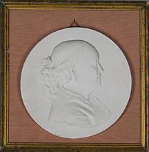 médaillon avec portrait de femme de profil, en biscuit blanc, signé sous le buste Mathurin Moreau (1822-1911) et daté 1866.