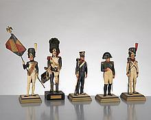 Lot de quatre soldats de plomb de la garde impériale I° Empire par Georges Fouillé (1909-1994) France, comprenant:
